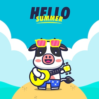 Hello summer   with cow play guitar cartoon illustration