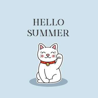 Hello summer  with cute cat, vector illustration