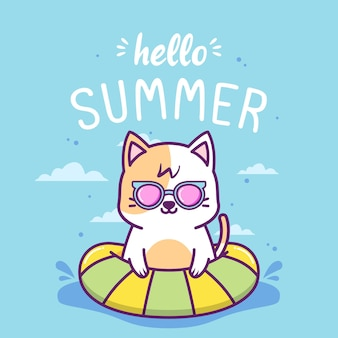Hello summer with cute cat