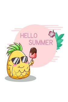 Hello summer with cute pineapple cartoon illustration
