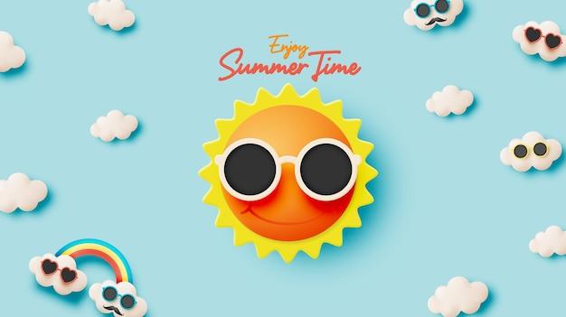 안녕하세요 여름 귀여운 햇살과 구름 3d 종이 아트 스타일 배경과 파스텔 색 구성표