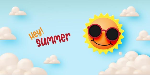 안녕하세요 귀여운 햇살과 종이 예술 하늘 배경과 파스텔 색상으로 여름 프리미엄 벡터