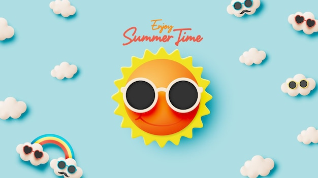 Hello summer with cute sunny and cloud in 3d paper art style background and pastel color scheme