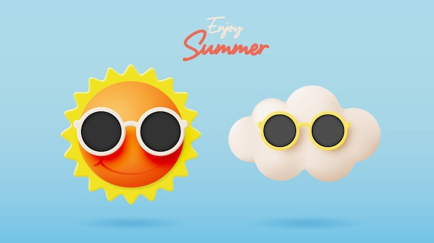 Hello summer with cute sunny and cloud