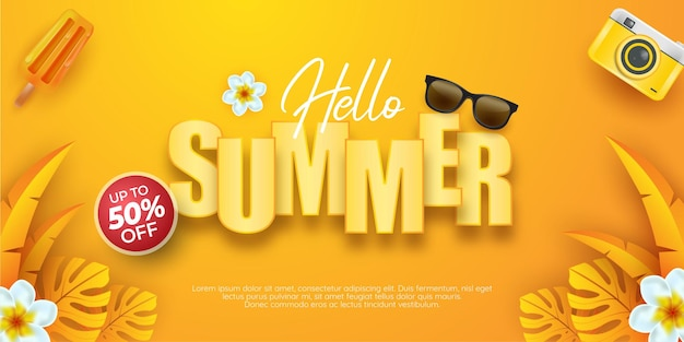 Hello summer with decoration on yellow background