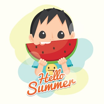Hello summer with fresh watermelon and cute boy.