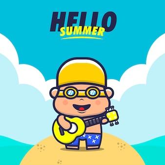 Hello summer with kids play guitar cartoon illustration