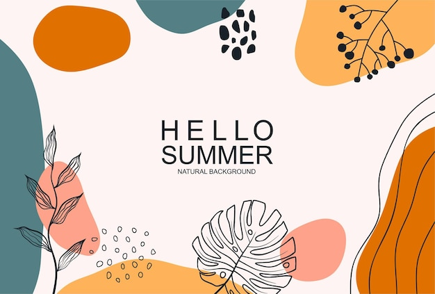 Hello summer with and line art leaf