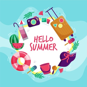 Hello summer with luggage and camera