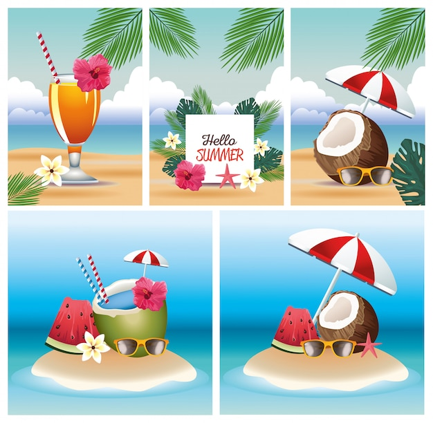 Hello summer with scenes card set