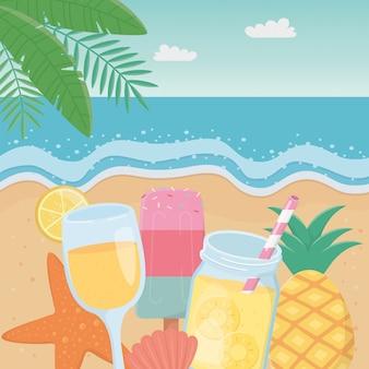 Hello summer with seascape scene