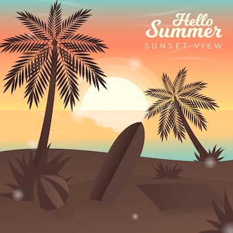 Hello summer with sunset view