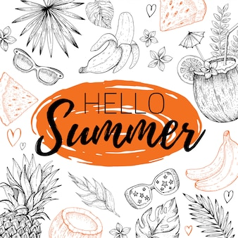 Hello summer with text, tropic leaf pattern. hand drawn doodle