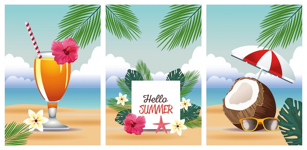 Hello summer with tropical scenes set