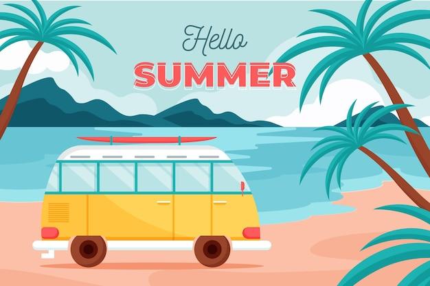 Привет лето с фургоном и пляжем
