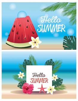 Привет лето с арбузом и цветами