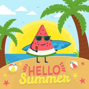 해변에서 수박 조각으로 안녕하세요 여름
