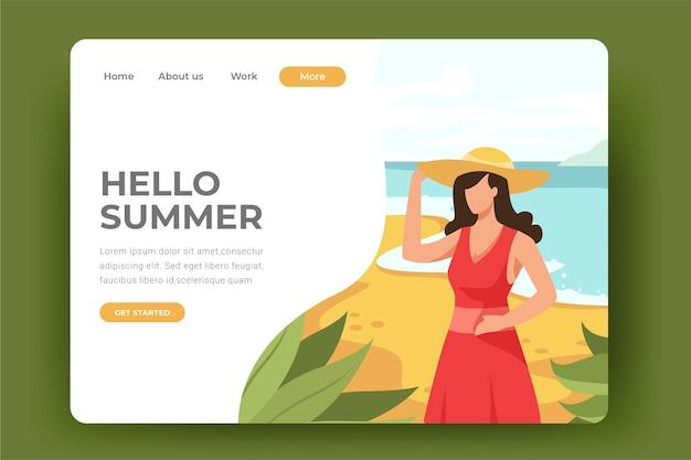 こんにちは、ビーチのランディングページで夏の女性