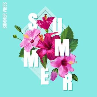 Hello summer плакат цветочный дизайн цветы гибискуса