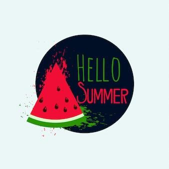 Hello summer дизайн арбуза фона