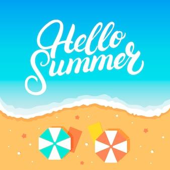 Hello summer рукописные надписи на пляже
