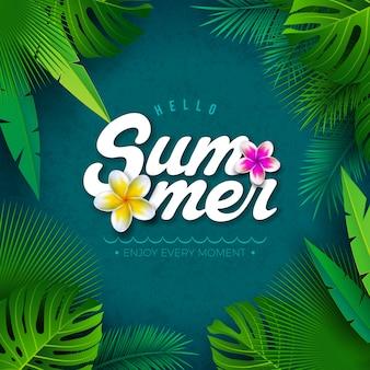 Векторная иллюстрация hello summer с тропическими пальмовых листьев