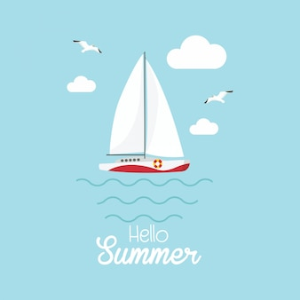 Hello summer парусная лодка, корабль, судно, роскошная яхта, быстроходный катер.
