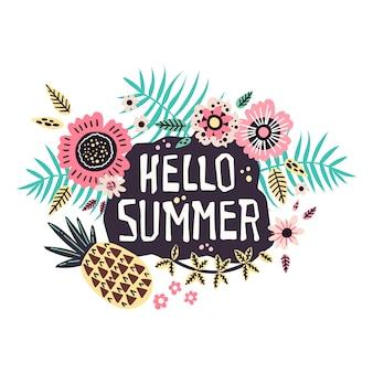 Надпись: hello summer - в окружении тропических фруктов и растений.