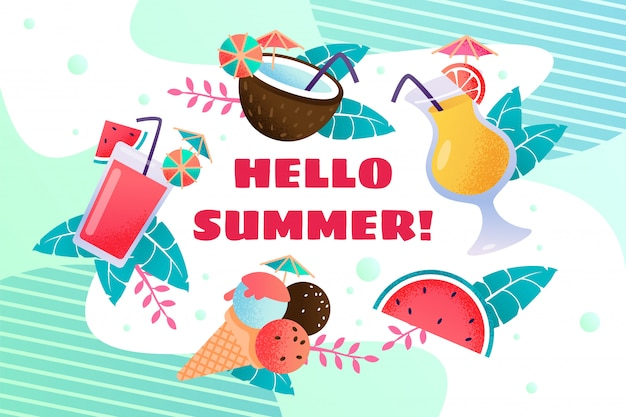 Hello summercard with ice cream and drinks