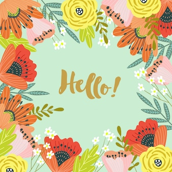 Hello. template for cards and banners with cute doodles flowers wirh text,