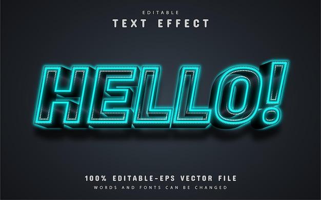 Hello text, blue neon text effect editable Premium Vector