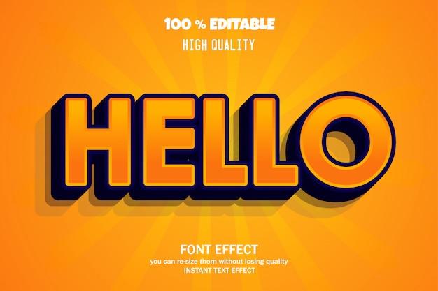 Hello text, editable font effect