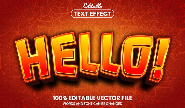 Hello text, font style editable text effect