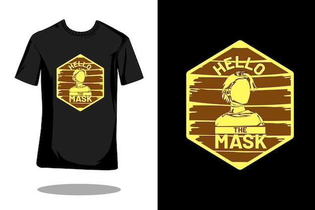 こんにちはマスクシルエットレトロtシャツデザイン