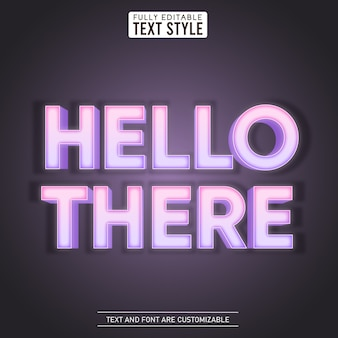 Hello there light glowing led editable text effect