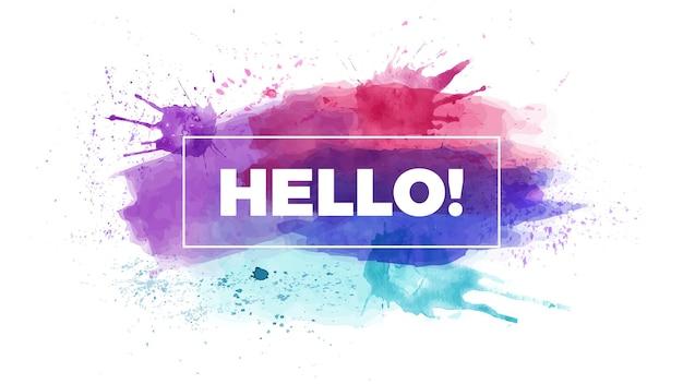 안녕하세요 제목 수채화 인포 그래픽 프리젠 테이션 슬라이드 템플릿 브러시 스트로크 배너