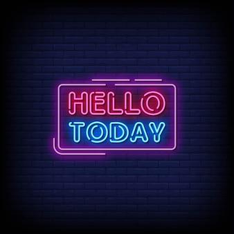 Привет сегодня неоновые вывески стиль текста