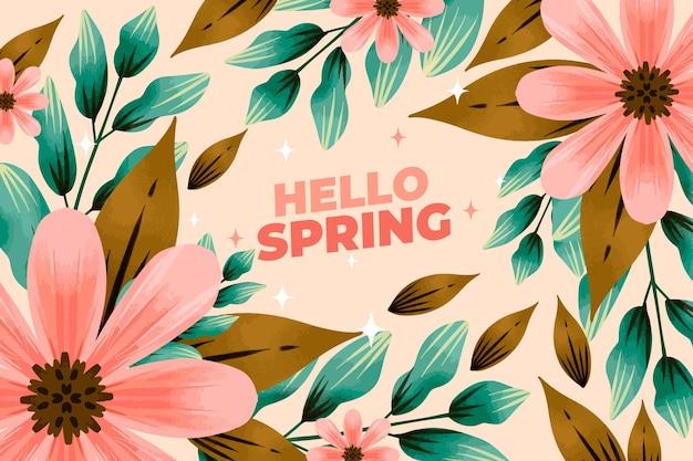 こんにちは水彩の春の背景