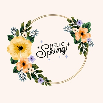 Hello watercolor spring floral frame