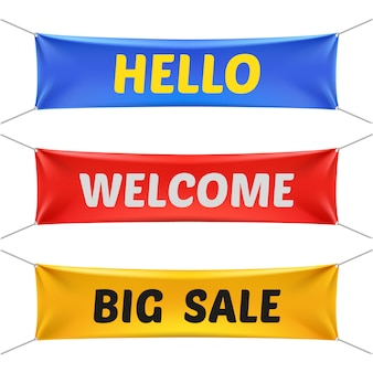 Hello, welcome and big sale banners