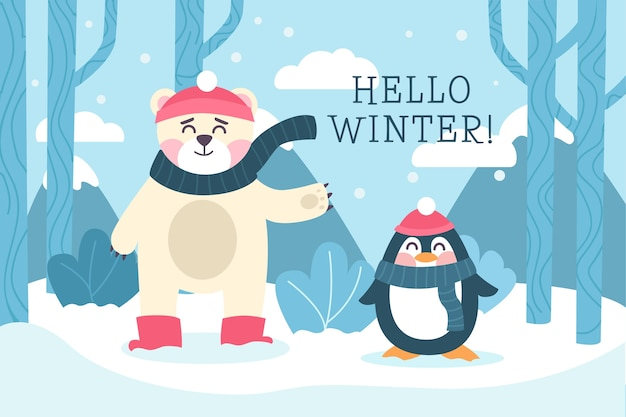 Hello winter background in flat design