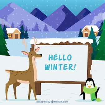 こんにちは冬の背景には、トナカイとペンギン