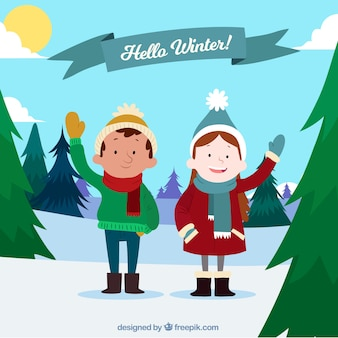 Hello winter background with happy kids