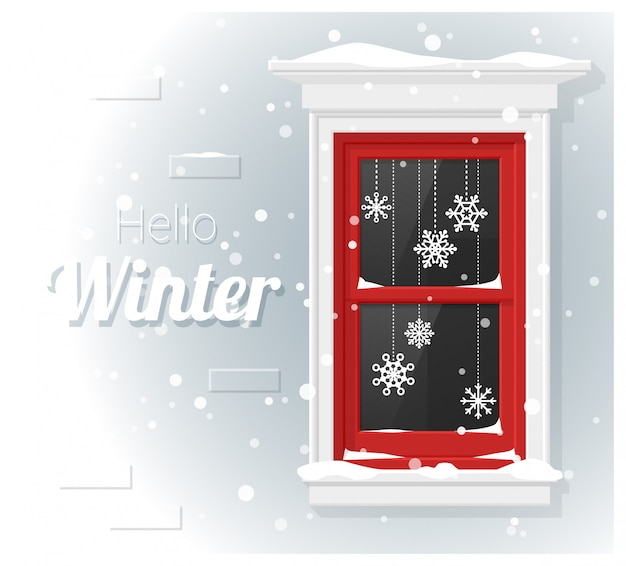 Hello winter background with window painting