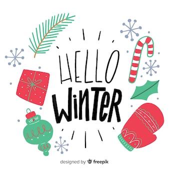 Hello winter background