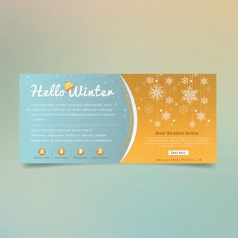Hello winter business banner