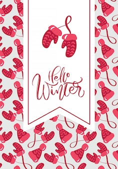 Hello winter calligraphic lettering hand written text. chritsmas greeting card