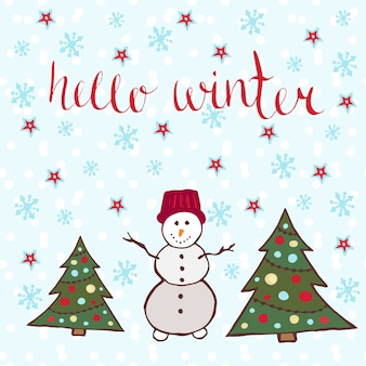 안녕하세요 겨울 카드. 새해 나무와 눈사람 춤
