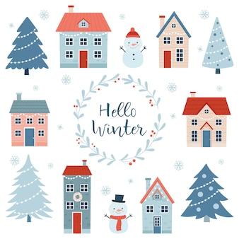 안녕하세요 겨울입니다. 흰색 배경에 다양한 집, 나무, 눈사람이 있는 크리스마스 세트. 간단한 만화 스타일입니다. 겨울 방학에 대 한 벡터 일러스트 레이 션.