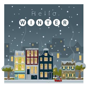 Hello winter cityscape background